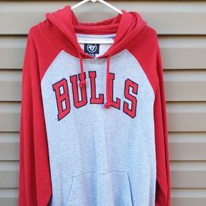 '47 XXL Red Gray Chicago Bulls Hoodie Sweatshirt